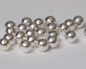 3mm Silver Plated Round Bead  (Qty 100)  50-SP107