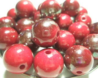 Red SHIMMER Beads Spacers  - (16 mm) - Basketball Wives Inspired - 10 pieces