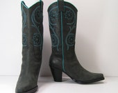 vintage western boots womens 7.5 b gray turquoise cowboy southwestern cowgirl