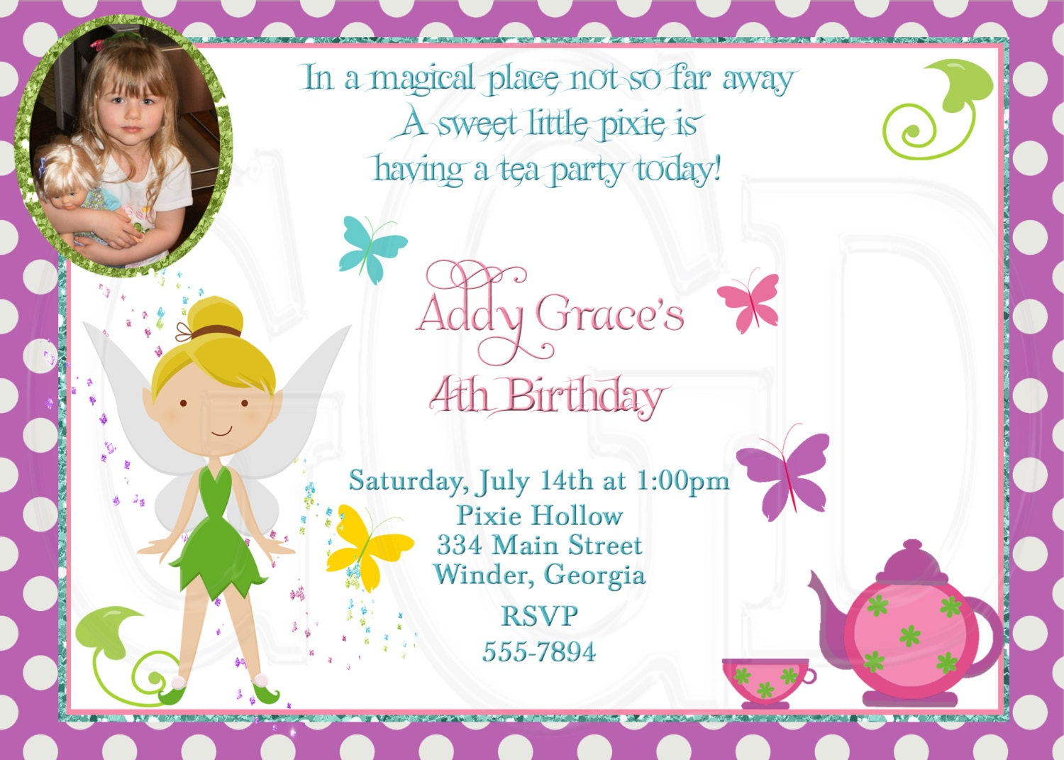 pixie hollow invite | etsy, Party invitations