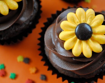 Sunflower Cake Decorations- Royal Icing- Made with Chocolate Candy Centers- Golden & Brown- Cupcake Topper (12)