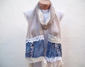 Handmade lace  Fabric Scarf-Guipure Scarf -cream brown blue white-rectangle