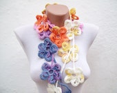 Flower Crochet Scarf,Lariat Scarf,Crochet Jewelry,Woman