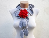 Brooch Pin Crochet Lariat Scarf Grey Red Flower Necklace