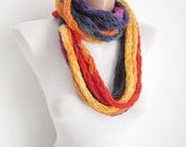 Knit infinity Scarf,Finger Knitting Scarf,Multicolor Necklace,chain loop scarf
