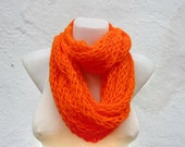 Chunky Loop Scarf,Finger Knit Scarf,Orange Neon,Chain Scarf