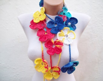 Colorful Crochet Lariat Scarf,Flower Necklace,Girls scarf