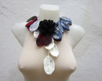 Rose Brooch, Crochet Lariat Scarf, Leaf Scarves, Flower Crochet Jewelry, Crocheted Necklace,  Floral Accessories, Grey White Burgundy Black
