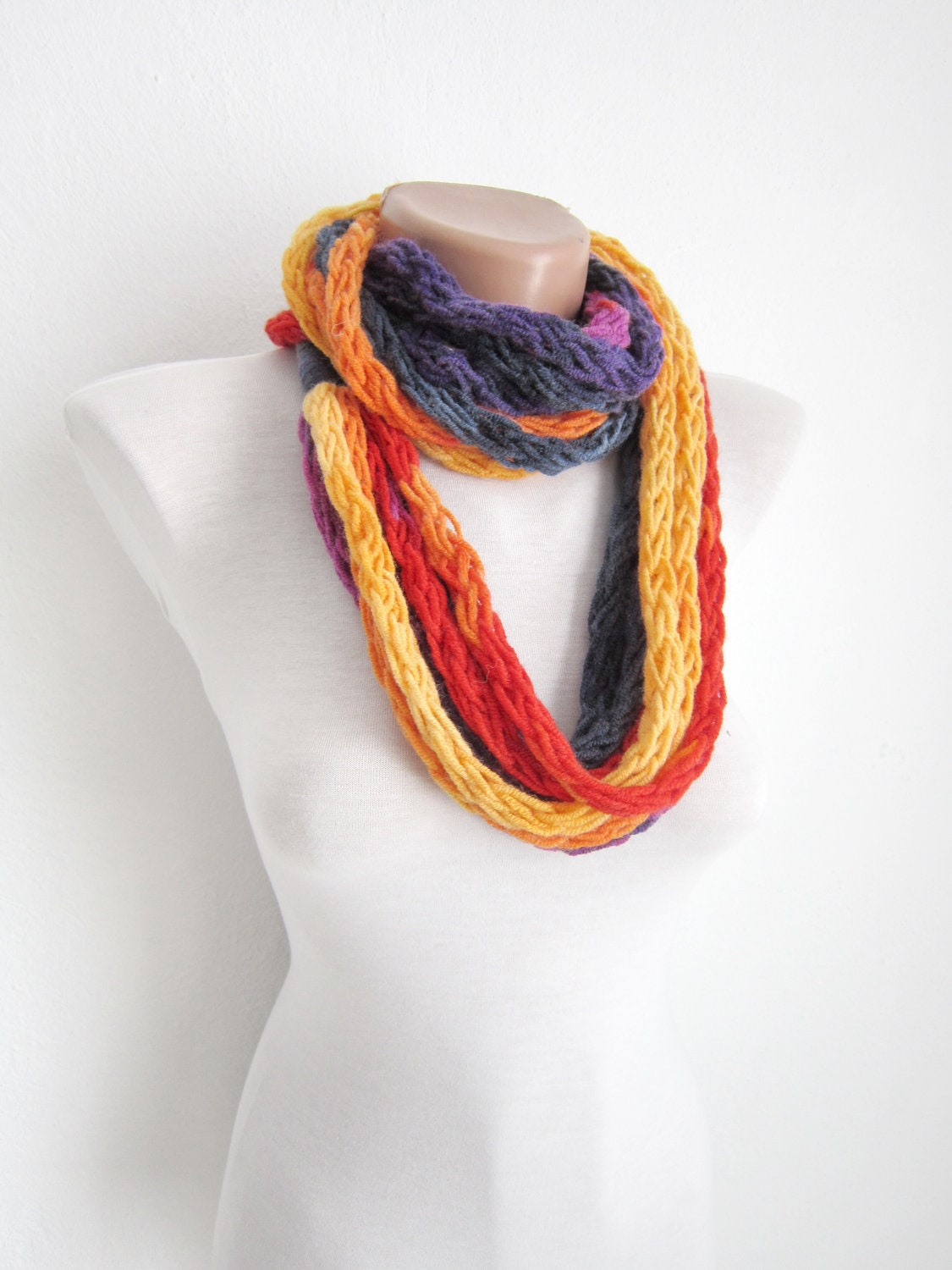 knit infinity scarffinger knitting scarfmulticolor by