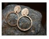 Michael Archangel Bronze Hoop Post Earrings