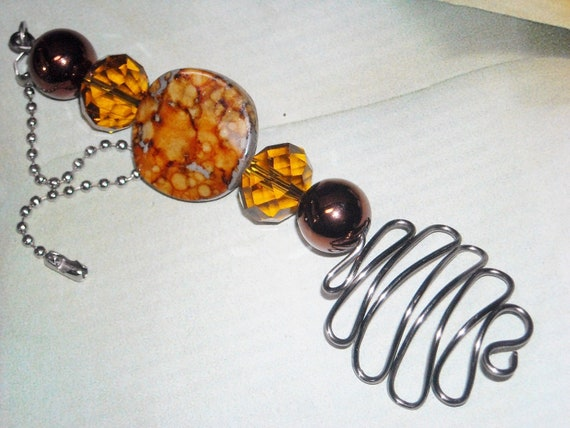 Beaded Ceiling Fan Pull - Orange Fizz - Decorative Accessory Orange Sparkle Copper Home Decor Jewelry For Your Home