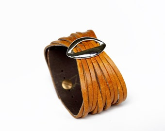 Mustard yellow Women's Leather Cuff Bracelet Lips