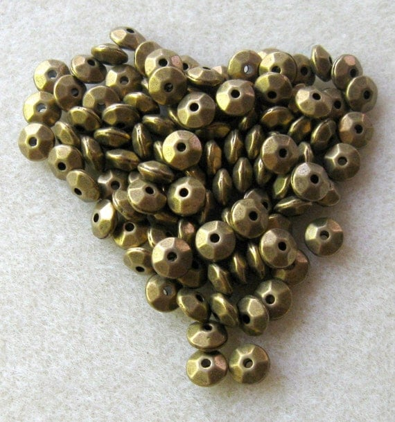 Antiqued Brass Disc Spacer Beads Findings (100)
