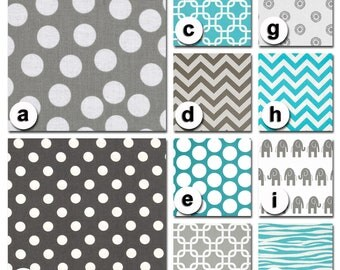 Custom Crib Bedding You Design   Bumper and Bedskirt iin Gray and Aqua