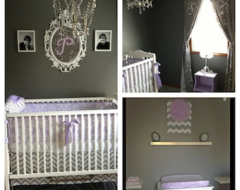 Custom Crib Bedding You Design   Bumper and Bedskirt in Lilac and Aqua