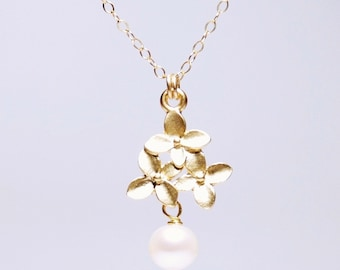 14K gold filled necklace, cherry flower necklace, pearl necklace, white fresh water pearls, June birthday gift, bridal necklace