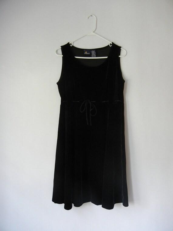Vintage Black Velvet Dress, Sleeveless, Size Large, Goth, Minimalist, 90's, Tumblr, Adjustable Waist