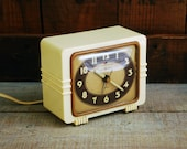 Art Deco Ivory Bakelite Alarm Clock, General Electric Troubadour by Leo Ivan Bruce