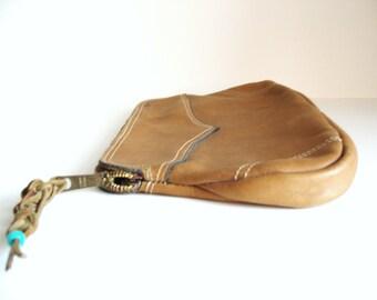 SALE  Vintage Leather Clutch Purse - Southwest / Cowgirl / Cowboy Style