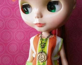 necklace for Blythe Barbie embossed brass rosebud design B187g