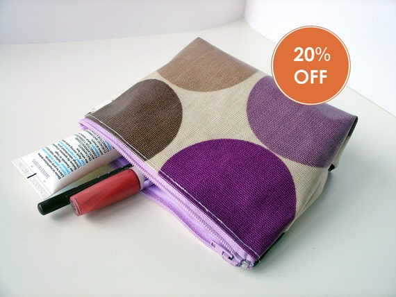 make up bag 4.5 x 6 inch flat bottom in  purple big dots oilcloth and lilac zip by dotty spots - READY FOR SHIPPING