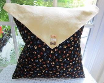 Cotton Fabric Envelope Pillow -w- Doggy Paws Design & Dog Bone Buttons