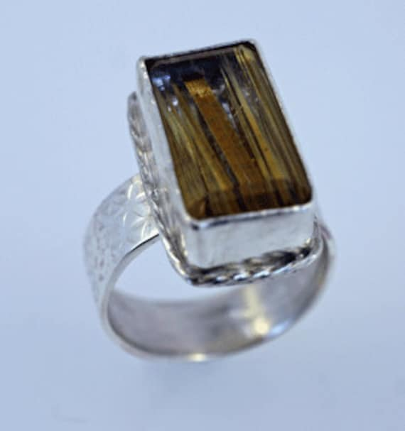 Rutile Quartz Ring in Sterling Silver, Size 8