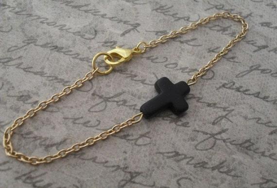 sideways cross bracelet // simple sideways black stone cross on gold chain