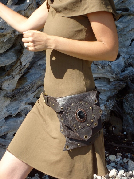 Steampunk leather utility belt bag festival  burning man belt butterfly with pockets in brown with onyx