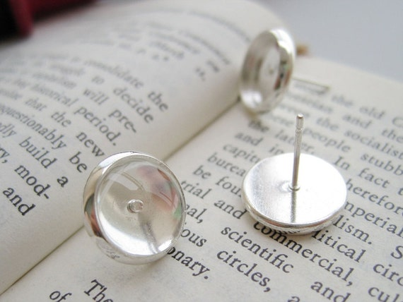 200pcs Brass Silver Plated Post Earring with 10mm Round Bezel Cup Cabochon Mountings