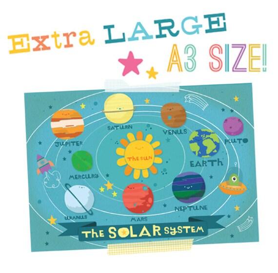 A3 Print - My Solar System - Cute Kawaii Space Illustration Typography - Nursery Print