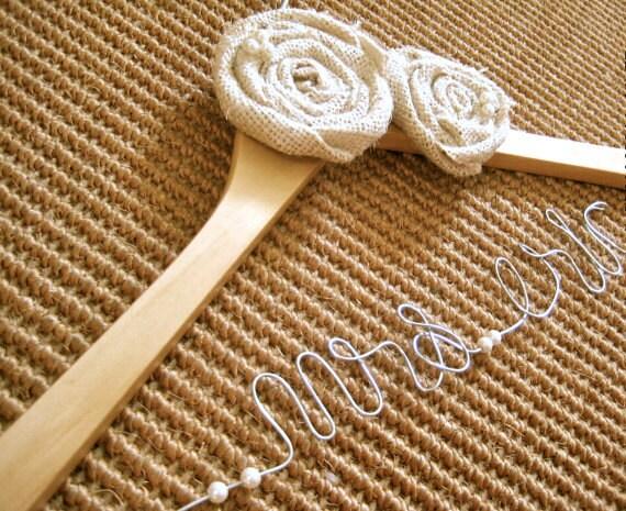 Wedding  Hanger with Rosette.Custom