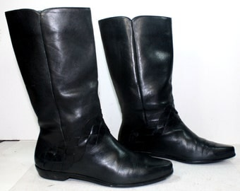 Vintage cowboy cowgirl woven black low heel knee high tall western womens Leather black fashion boots 7 M B