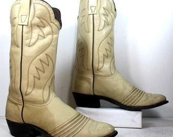 Sale was 50 Vintage white bone heel cowboy mid calf womens Leather fashion western boots 8.5 N A