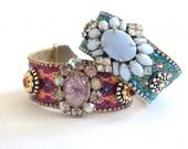Rhinestone friendship bracelet cuff - bohemian bracelet in turquoise and robins egg blue - hippie bracelet