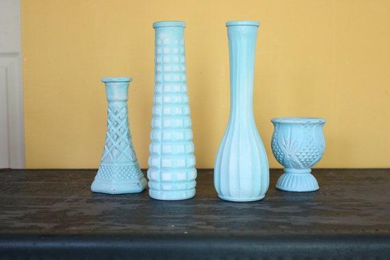 4 Shabby Chic Distressed Vase Set