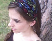 Red, Yellow, Blue Skulls on Black Bandana Headband