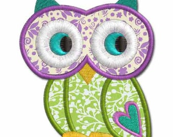 Owl with Heart Applique, machine embroidery design