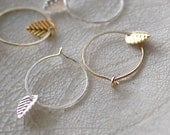 Tiny Small Hoop Earrings & Leaf Gold Silver Set of Two 2 Kawaii Dainty - Delicate Simple Modern Minimalist Jewelry - HAPPA by 5050 STUDIO