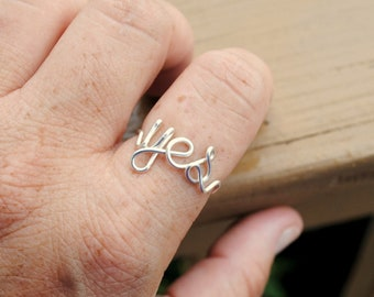 Word Ring, Wire Word Ring, Wire Ring,  Word Ring YES Love Romance Non Tarnish Silver Plated Wire