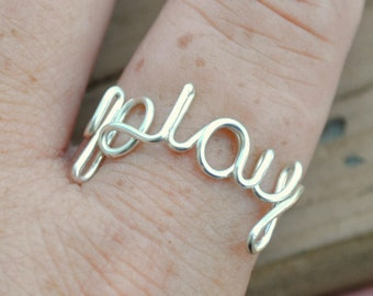 Word Ring, Wire Word Ring Adjustable Wire Ring, Word Ring PLAY Non Tarnish Silver Plated Wire