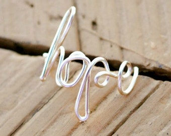 Adjustable Wire Ring, Word Ring Hope Non Tarnish Silver Plated Wire
