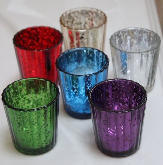 Set 10 Tinted Colored Mercury Glass Votive Candle Holders