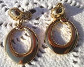For Ramon -Vintage Signed Monet Doorknocker Earrings Goldtone