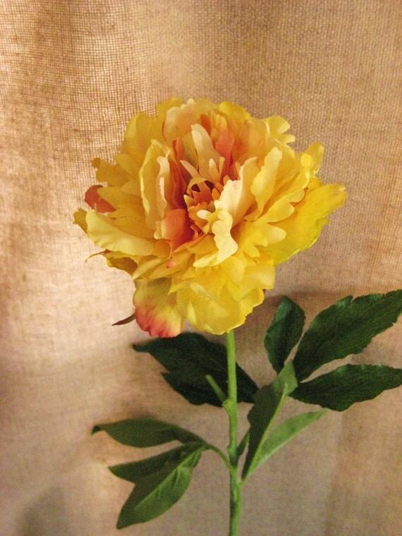 Yellow Peonies / Long Stemmed Yellow Silk Flowers