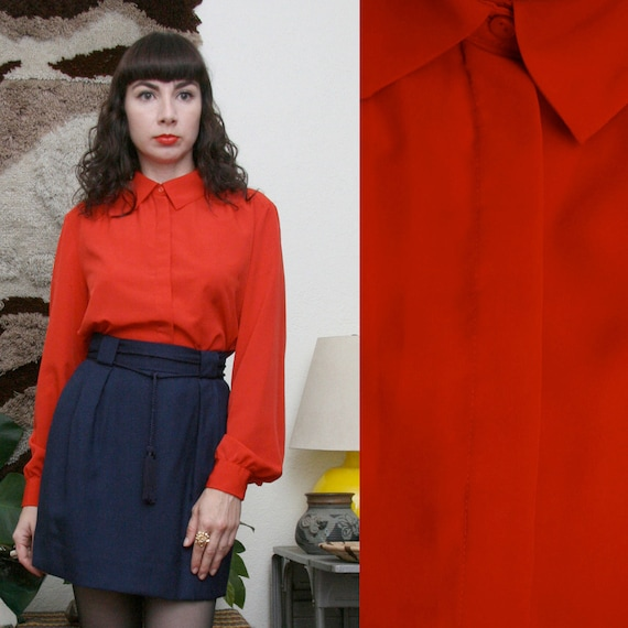 Vintage 80s 90s Red Secretary Blouse Large-Extra Large