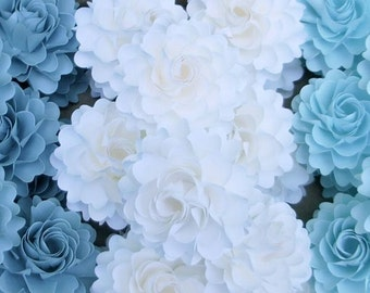 The  Full Bloom Dahlia Handmade Paper Flower   - Shades of Blues -  set of 50 flowers   - Custom color available