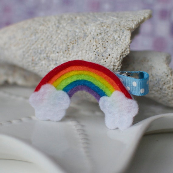 Cute Rainbow Fun Felt Hair Clip- Noahs Ark Bow