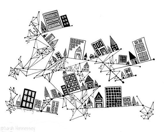 City Founded on Geometry  8x10 Black and White Print of Ink Pen Line Drawing