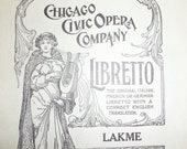 Antique 1930s Chicago Civic Opera Play Lakme Program